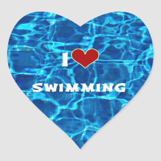 I Love Swimming Heart Sticker