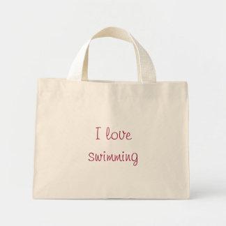 I love swimming mini tote bag