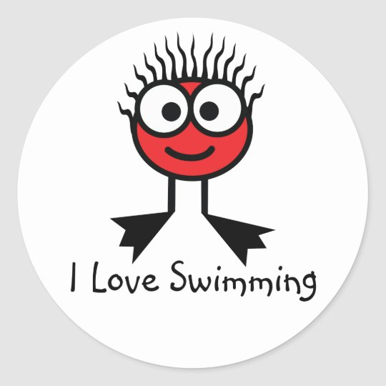 I Love Swimming - Red CharacterStickers Classic Round