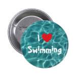 I Love Swimming Red Heart with Aqua Pool Water 6 Cm Round Badge