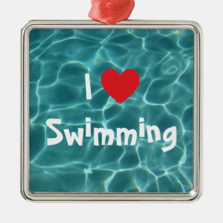 I Love Swimming Red Heart with Aqua Pool Water Silver-Colored Square Decoration