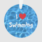 I Love Swimming Red Heart with Blue Pool Water Ornament