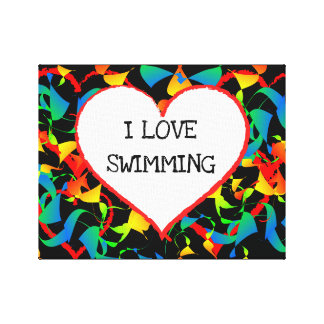 I Love Swimming Sports Editable Modern Abstract Canvas Print