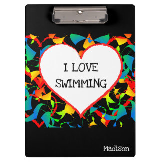 I Love Swimming Sports Editable Modern Abstract Clipboard