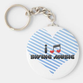 I Love Swing Music Keychain
