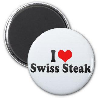 I Love Swiss Steak 6 Cm Round Magnet