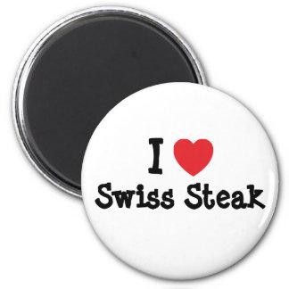 I love Swiss Steak heart T-Shirt 6 Cm Round Magnet