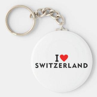 I love Switzerland country like heart travel touri Key Ring