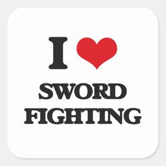 I love Sword Fighting Square Sticker