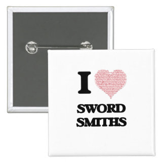 I love Sword Smiths (Heart made from words) 15 Cm Square Badge
