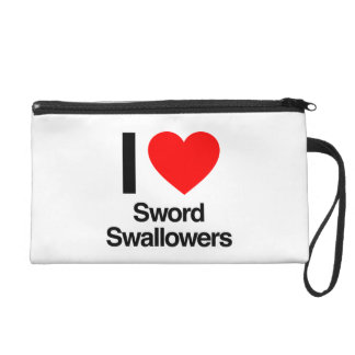 i love sword swallowers wristlet purses
