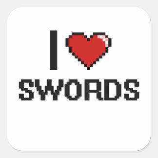 I Love Swords Digital Retro Design Square Sticker