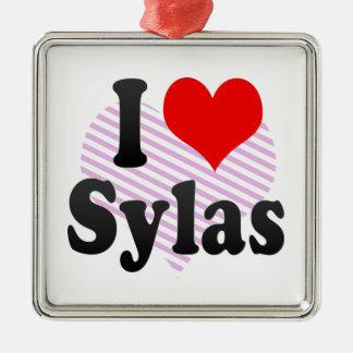 I love Sylas Silver-Colored Square Decoration