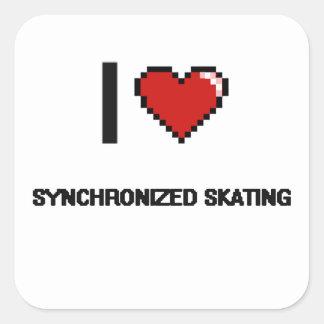 I Love Synchronized Skating Digital Retro Design Square Sticker