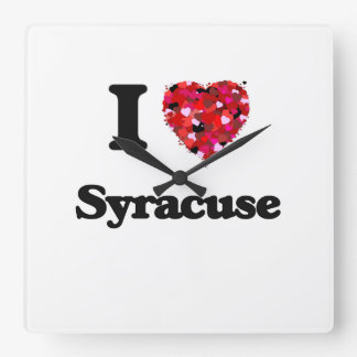 I love Syracuse New York Square Wall Clock