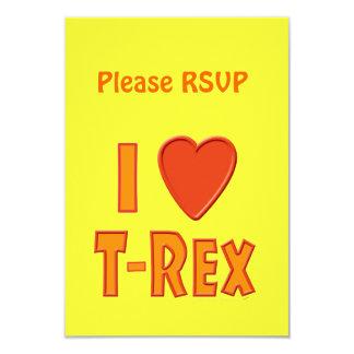 I Love T-Rex Tyrannosaurus Rex Dinosaur Lovers 9 Cm X 13 Cm Invitation Card