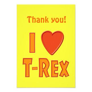 I Love T-Rex Tyrannosaurus Rex Dinosaur Lovers Invite