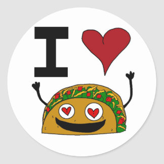 I Love Taco Stickers