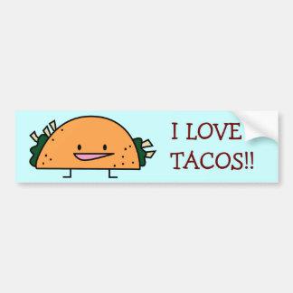 I Love Tacos Bumper Sticker Car Bumper Sticker