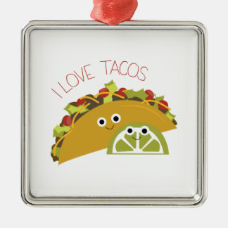 I Love Tacos Christmas Ornament