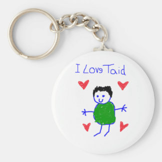 I Love Taid Basic Round Button Key Ring