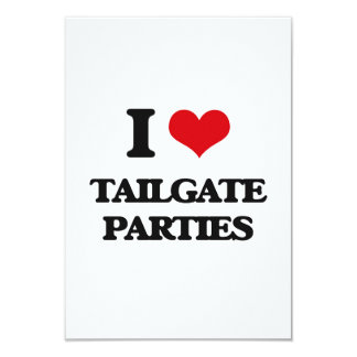 """I love Tailgate Parties 3.5"""" X 5"""" Invitation Card"""