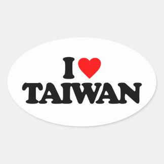 I LOVE TAIWAN OVAL STICKER