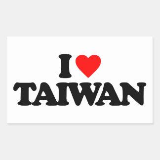 I LOVE TAIWAN RECTANGULAR STICKER