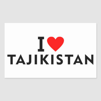 I love Tajikistan country like heart travel touris Rectangular Sticker