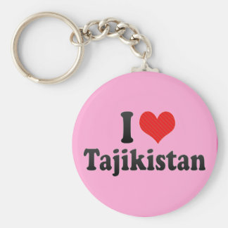 I Love Tajikistan Basic Round Button Key Ring