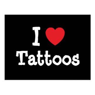 I love Tattoos heart custom personalized Postcards