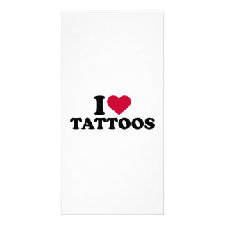 I love tattoos personalised photo card