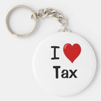 I Love Tax I Heart Tax Basic Round Button Key Ring