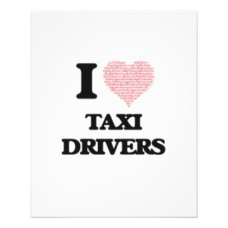 I love Taxi Drivers (Heart made from words) 11.5 Cm X 14 Cm Flyer