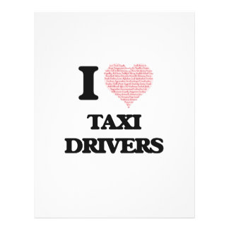I love Taxi Drivers (Heart made from words) 21.5 Cm X 28 Cm Flyer