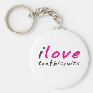 I love tea and biscuits design 9 in Pink Basic Round Button Key Ring