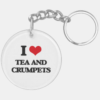 I love Tea And Crumpets Double-Sided Round Acrylic Keychain