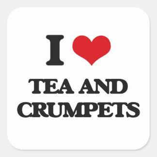 I love Tea And Crumpets Square Sticker