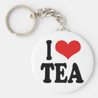 I Love Tea Basic Round Button Key Ring