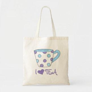 I Love Tea Purple/Blue Polka Dot Teacup Tote