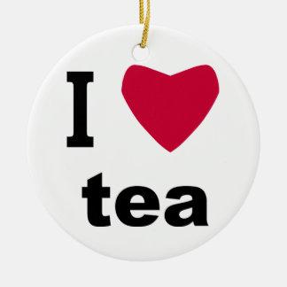 I Love Tea Round Ceramic Decoration