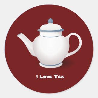 I Love Tea Round Sticker