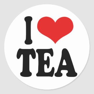 I Love Tea Round Sticker