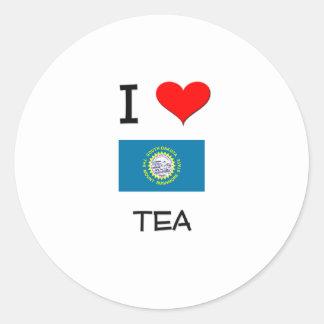 I Love Tea South Dakota Round Sticker
