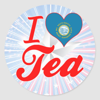 I Love Tea, South Dakota Round Sticker