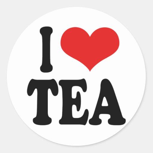 I Love Tea Round Stickers