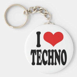 I Love Techno Basic Round Button Key Ring