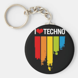 I Love techno music Basic Round Button Key Ring