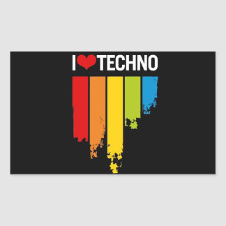 I Love Techno Music Rectangular Sticker