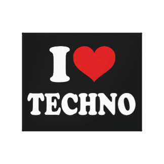 I Love Techno Stretched Canvas Prints